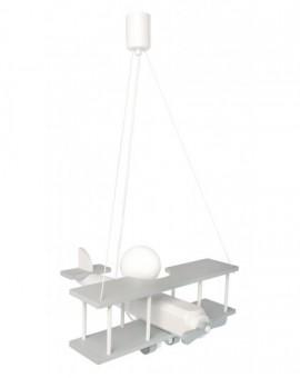 Duża lampa wisząca szaro-biała do pokoju dziecka Samolot