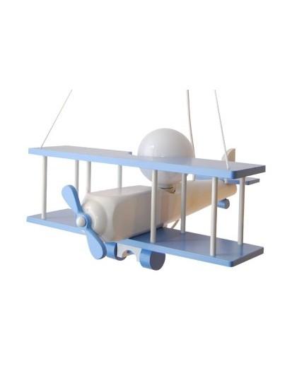 Niebiesko-biała wisząca lampa dziecięca Samolot duży