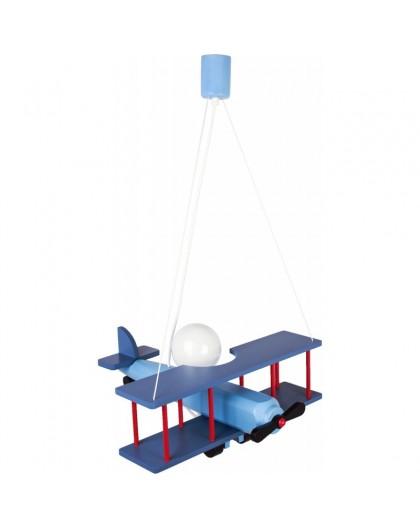 Duża Niebieska Lampa Wisząca Dziecięca Samolot