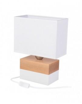 Elegancka białą drewniana lampa biurkowa Colorato