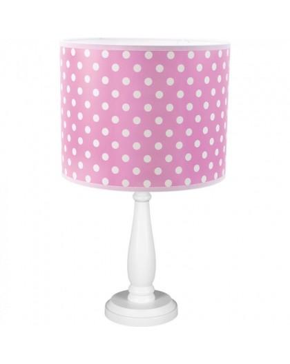 Różowo-biała lampa stojąca biurkowa abażur