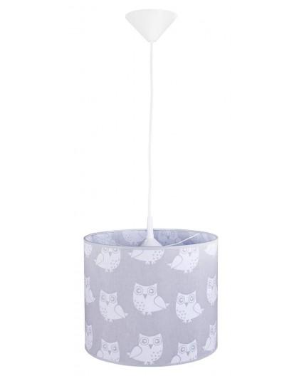 Szara lampa wisząca do pokoju dziecka Sowy