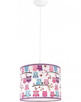 Kolorowa klasyczna lampa wisząca dla dzieci Sowy 25 cm