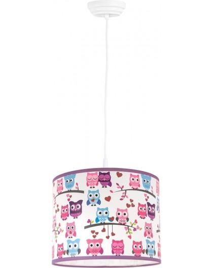 Kolorowa lampa wisząca 35 cm Sowy do pokoju dziecka