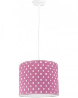 Różowa lampa wisząca kropki średnica 35 cm dla dzieci