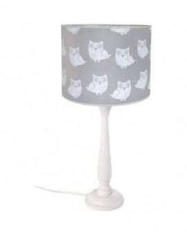 Klasyczna lampa stojąca Sowy Trójnóg szara biała