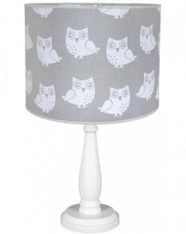 Biało-szara stołowa lampa dziecięca 41 cm Sowy