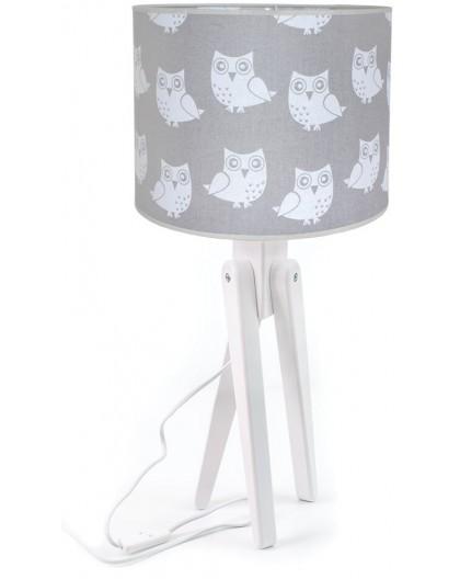 Dziecięca lampa na stolik biała szara Sowy