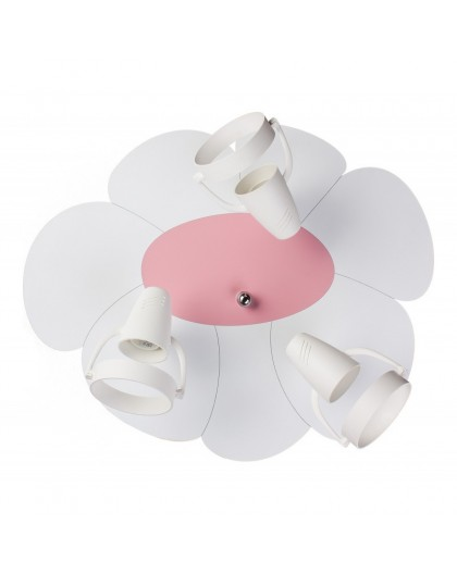 Biały Różowy plafon lampa sufitowa Płatek 3xE14
