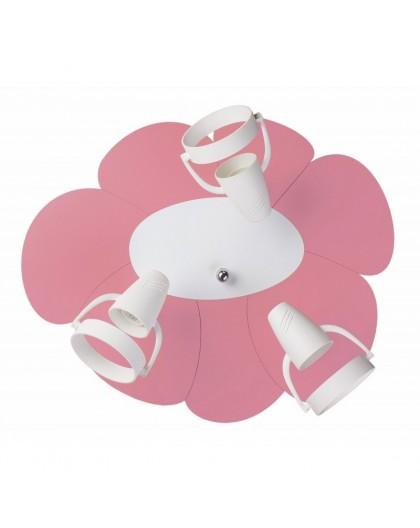 Różowa lampa sufitowa plafon Płatek 3xE14