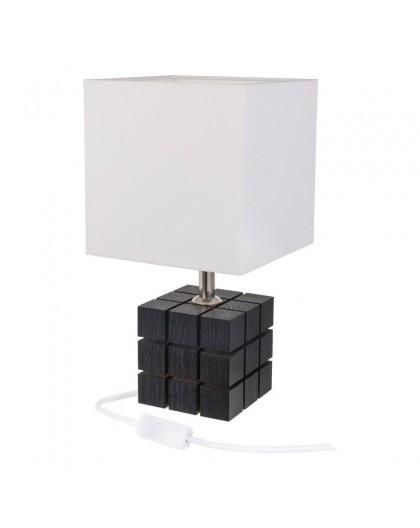 Czarna lampa stolikowa drewniana Kostka Rubika