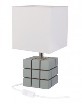 Szara lampa stolikowa drewniana Kostka Rubika