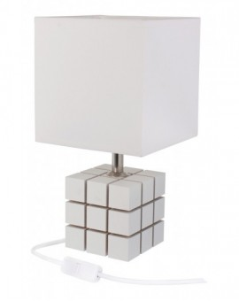 Biała lampa stolikowa drewniana Kostka Rubika