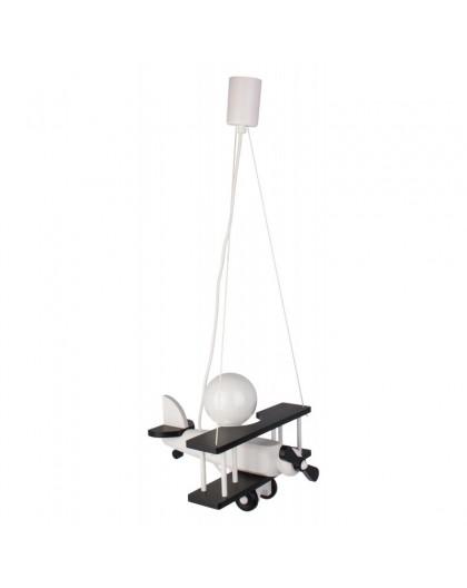 Biało-czarna drewniana lampa wisząca dla dzieci Samolot
