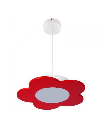 Czerwona lampa wisząca LED Kwiatek drewniany