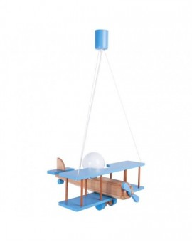 Niebieska lampa wisząca Samolot duży drewniana