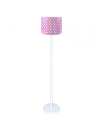 Biała lampa podłogowa różowy abażur w białe kropki