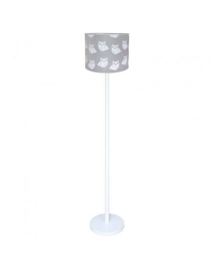 Biała stojąca lampa podłogowa Sowy szary abażur