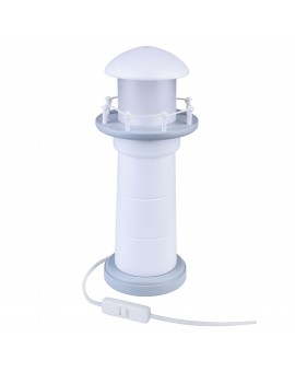 Szara Biała lampa na stolik Latarnia Morska