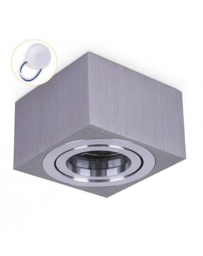 Oprawa natynkowa Kwadratowa Srebrna 50 mm OH37S do LED Insert